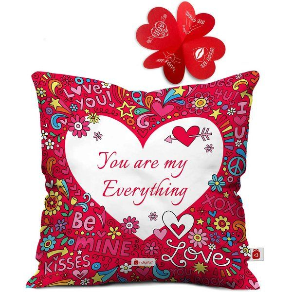Indigifts You Are My Everything Quote Printed Cushion with Cover Unique Valentines Day Gift