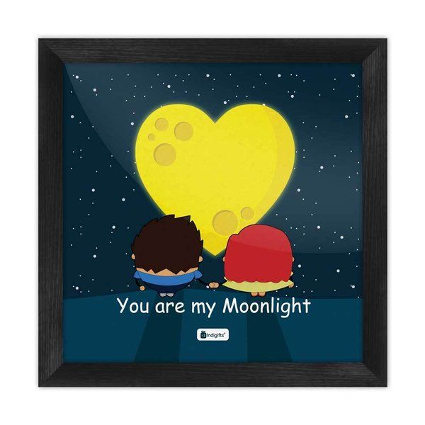 Indigifts You Are My Moonlight Quote Romantic Couple Walking Together Blue Poster Frame Best Anniversary Gifts For Girlfriend
