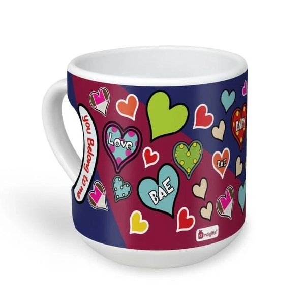 Indigifts You Belong To Me Quote Bright Coloured And Textured Heart Pattern Of Love Multicolor Heart Shape Mug Unique Valentines Day Gift
