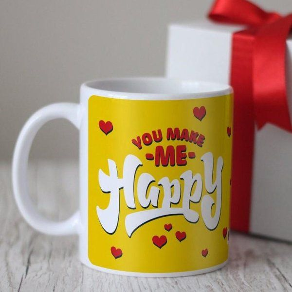 Indigifts You Make Me Happy Quote Yellow Coffee Mug Propose Day Gift For Boyfriend