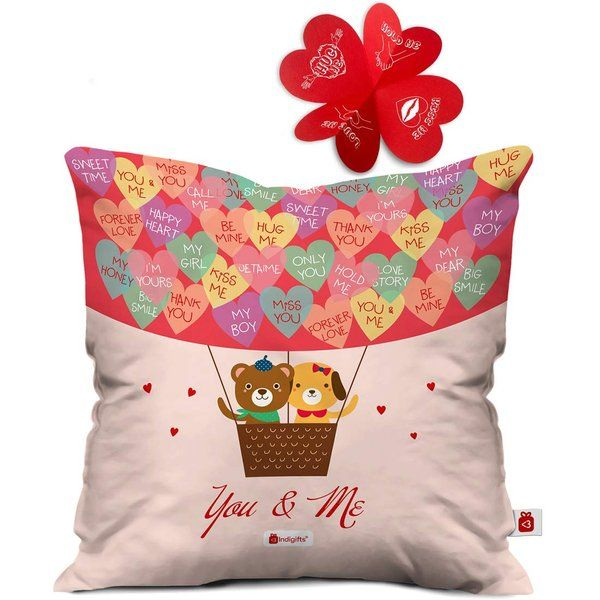Indigifts You & Me Quote Multi Cushion Cover with Filler  Unique Valentines Day Gift