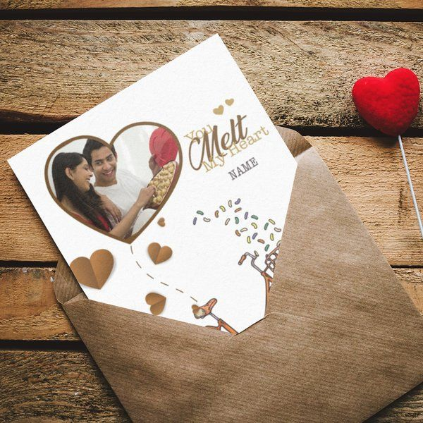 Privy Express You Melt My Heart Cute Personalised Photo Greeting Card With Name Romantic Valentines Day Gifts For Him