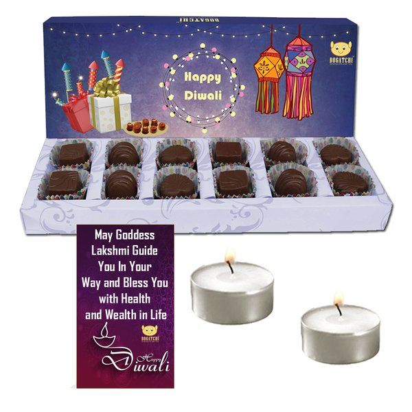 Diwali Gift Ideas for Corporates a Chocolates Box with Candles & Diwali Greeting