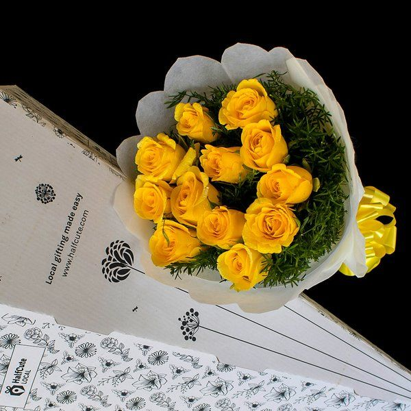 HalfCute Local 12 Yellow Roses Bunch Sentimental Gifts For Best Friends