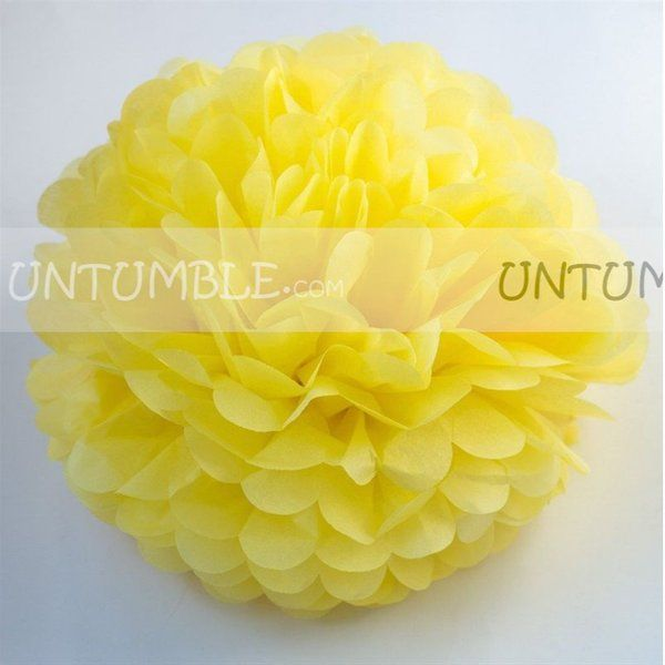 Untumble 12inch Yellow Paper Pom Poms Graduation Day Decorations