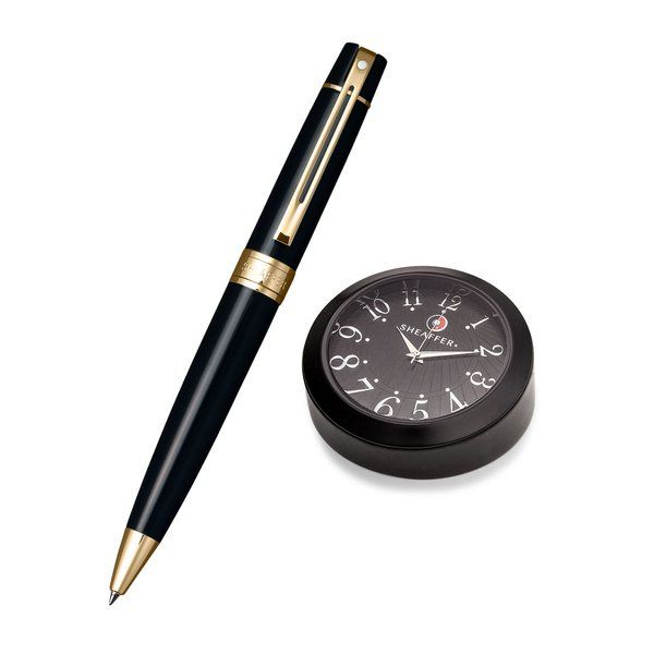 Sheaffer 9325 Gift 300 Ballpoint Pen - Glossy Black With Gold Tone Trim And Black Table Clock 50th Birthday Gift Ideas For Dad