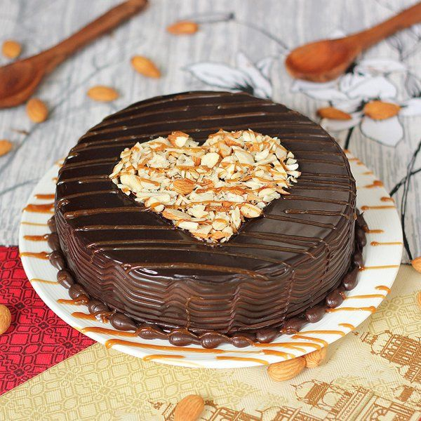 FlowerAura Appetizing Choco-Almond Delight Cake Engagement Gift For Brother