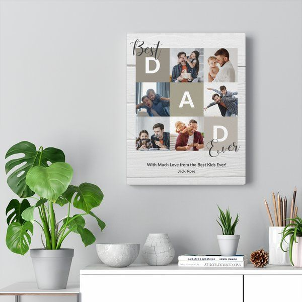 Privy Express Best Dad Ever Collage Canvas Print Fathers Day Photo Frame