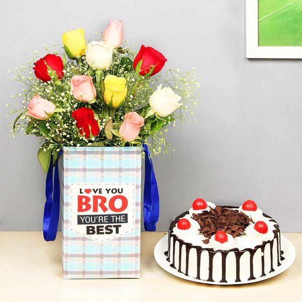 FlowerAura Bestest Brother Cake Combo Special Birthday Gift For Brother