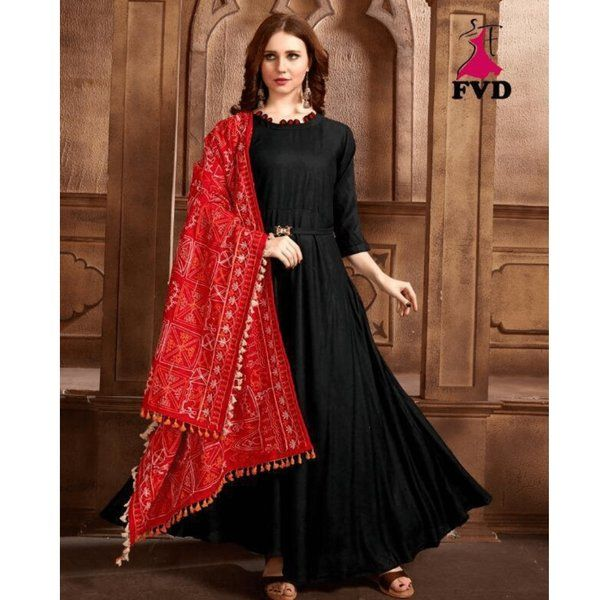Hoods & Bonds Black And Red Kurti First Birthday Gift For Wife After Marriage