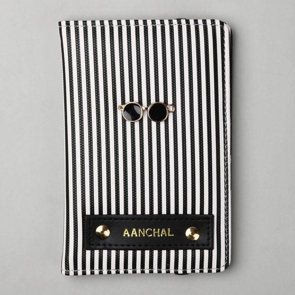 Tisora Designs Black and White Stripes Passport Wallet Thoughtful Sister Gifts