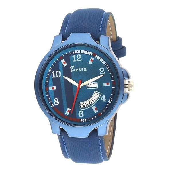 zestaindia Blue Leather Analogue Watch with Day and Date Feature Gift Ideas For 15 Year Old Boy