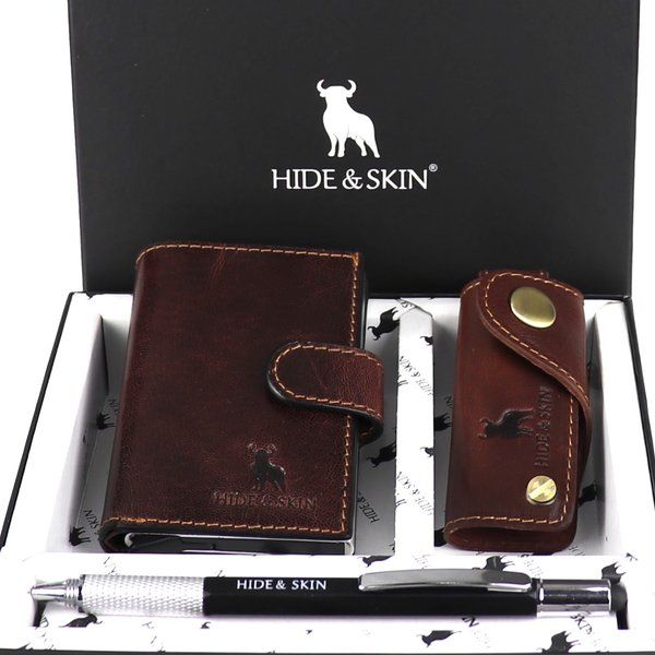 Hide & Skin Brandy Brown Leather Card Holder, Brandy Brown Leather Keychain and Multi functional Pen Combo Gifts For Dad