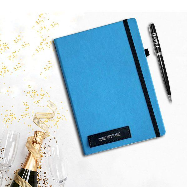 Tisora Designs Bright Blue Company Name Personalised Celebration Diary Useful Gifts For Husband