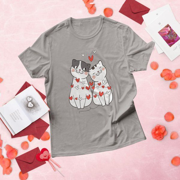 Privy Express Cat Love Hearts Printed Cotton Unisex T-Shirt Gift Ideas For Girls