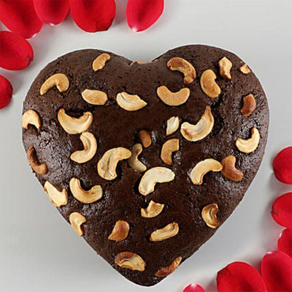 Liquor Chocolates And Cakes Chocolate Dry Cake Heart Shaped With Cashews Latest Gifts For Husband
