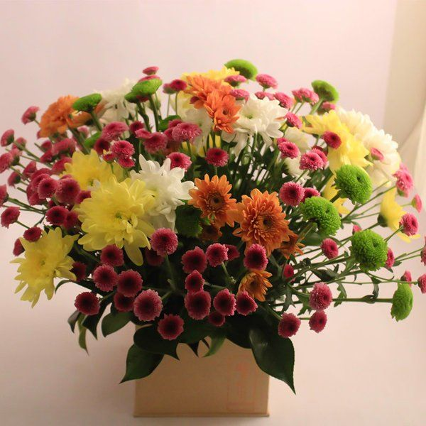 FlowerBox Chrysanthemums In A Brown Box 1st Wedding Anniversary Gift For Sister