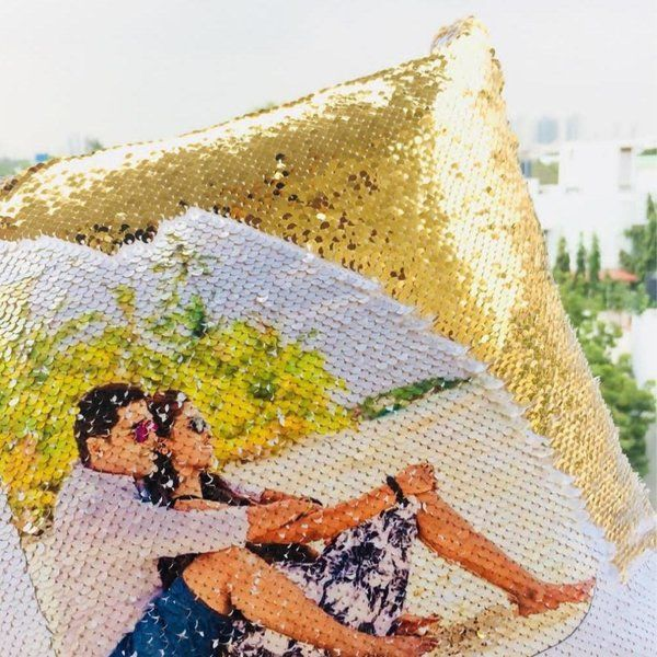 Waah Craft Couple Golden Personalized Magic Sequin Cushion Gold Gifts For Husband