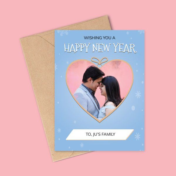 Privy Express Couple Photo Personalised New Year Heart Theme Greeting Card New Year Gift For Husband