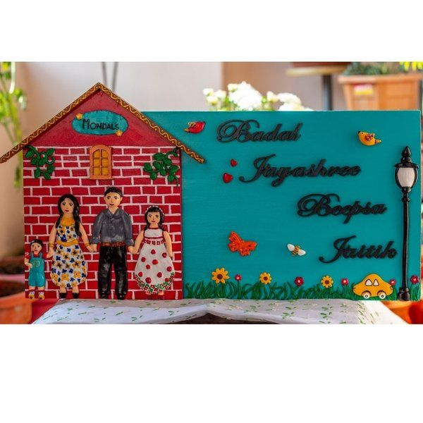 Family Themed Nameplate Housewarming Gifts for Indian Family