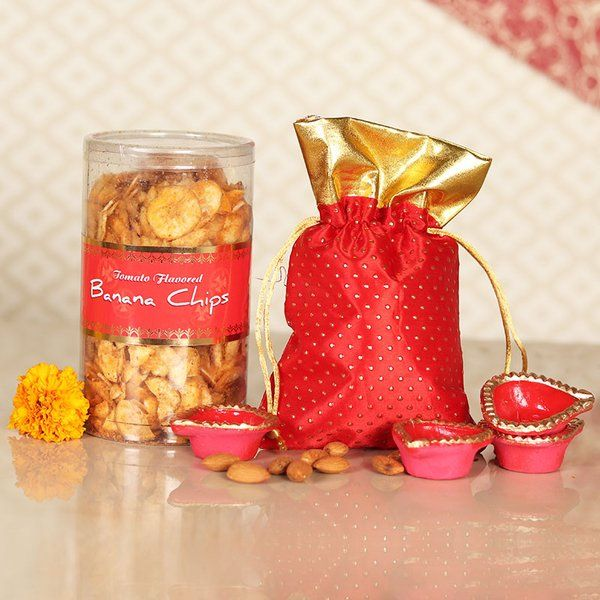 FlowerAura Crunchy Banana Chips N Almond Combo Gifts For Mom