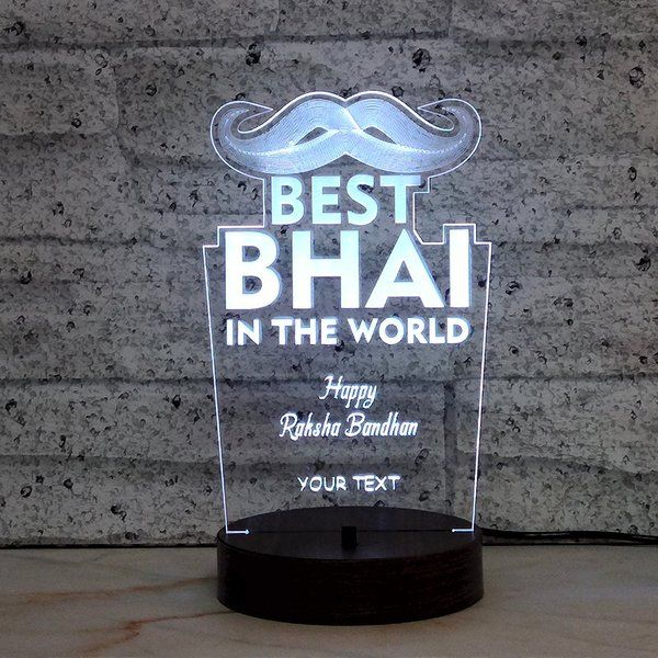 FlowerAura Custom Best Bhai Lamp Personalised Rakhi Gifts For Brother