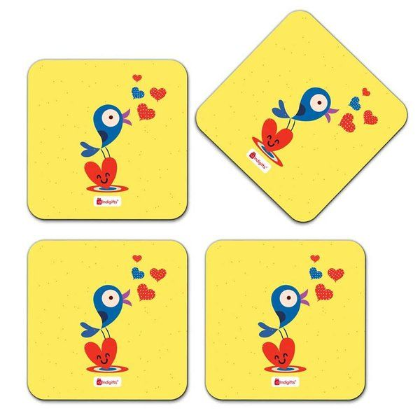 Indigifts Cute Chirping Bird Illustration Yellow Coaster Cute Gifts For Best Friend