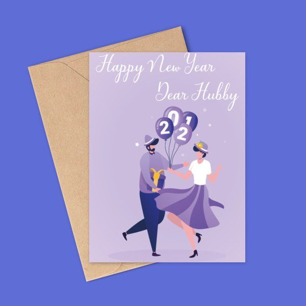 Privy Express Dear Hubby Romantic Pink New Year Wishes for Husband Greeting Card New Year Gift For Husband
