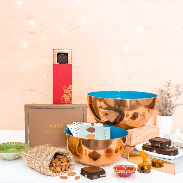 Dottedi Diwali Hamper - Blue Diwali Gifts For Wife