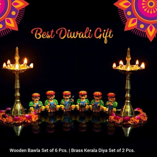 FineCraftIndia Diya Pair With Handcrafted Wooden Bawla Musician Diwali Gifts For Wife