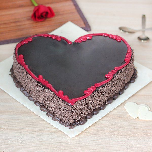 For My Beloved Wife Heart Shape Birthday Cake