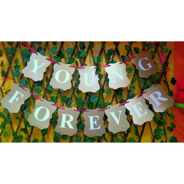 Arjoos Forever Young Banner For Birthday Party First Birthday Gift For Wife After Marriage