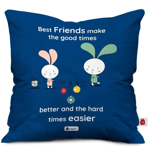 Indigifts Friends Make Good Times Better Printed Cushion Cover with Filler for BFF Birthday Sentimental Gifts For Best Friends