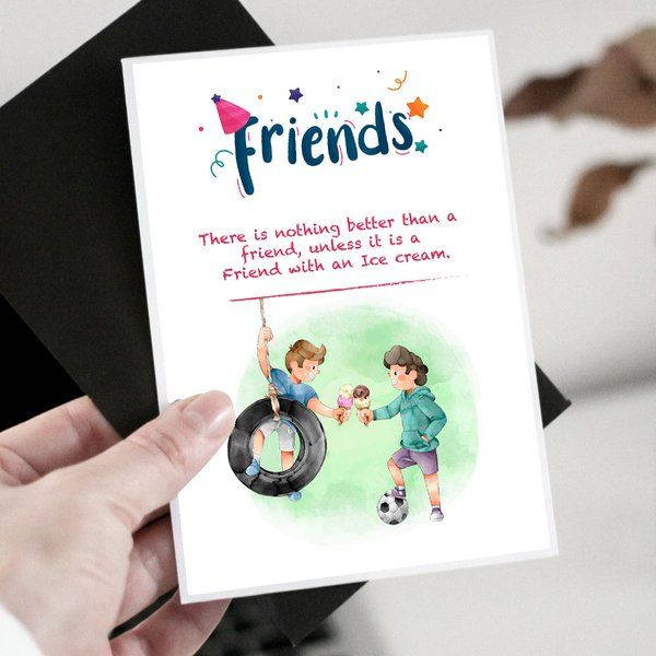 Privy Express Friends With Ice Cream Greeting Card Friendship Day Gifts For Boyfriend