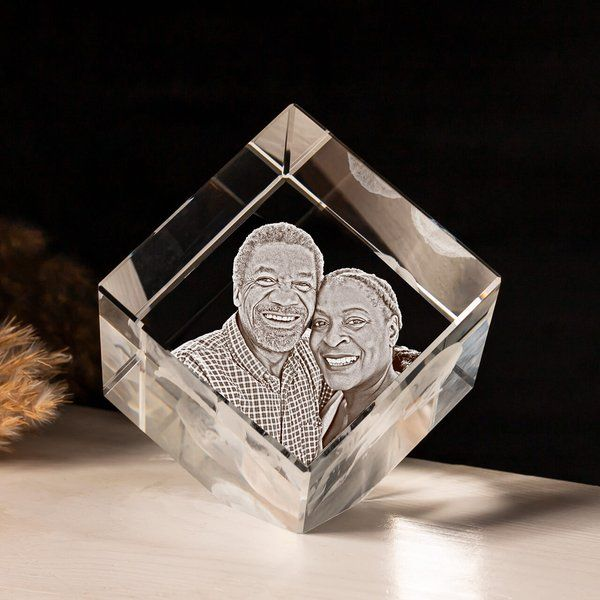 Privy Express Golden Years Of Togetherness Customized Cube Crystal Cut Laser Engraved 3D Crystal  25th Wedding Anniversary Gift Ideas