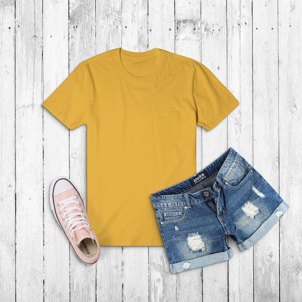 Privy Express Golden Yellow Solid Crew Round Neck Plain Cotton Women's T-shirt 18th Birthday Gift Ideas For Sister