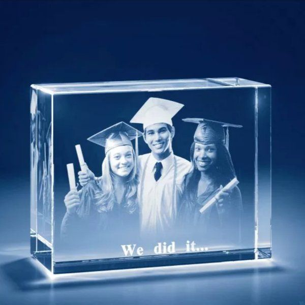 Privy Express Graduation Moments Personalized Cube Laser Engraved 3D Crystal- We Did It  Graduation Day Celebration