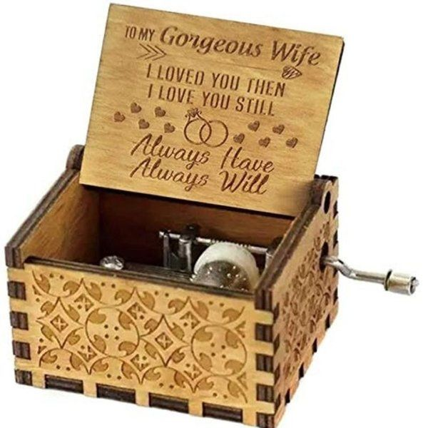 zestaindia Greatest Wife Wooden Hand Cranked Collectable Engraved Music Box Useful Gifts For Wife