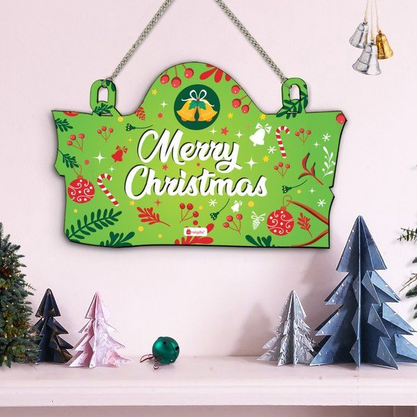 Indigifts Green Merry Christmas Printed Wall Hanging Christmas Gifts For Friends