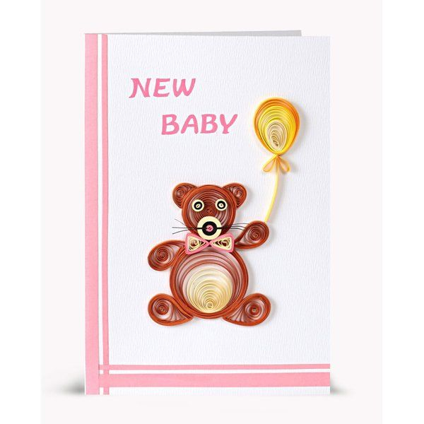 Swapnil Arts Handmade New Born Baby Wishes Greeting Card- Teddy Bear Theme Handmade Fathers Day Gifts