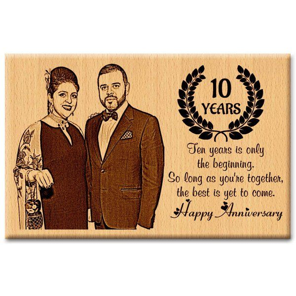 Incredible Gifts Happy 10th Anniversary Wooden Photo Frame Gift  10th Anniversary Gift For Husband
