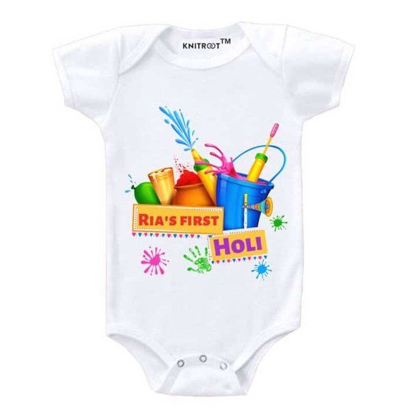 Knitroot Happy First Holi Baby Romper Holi Gifts