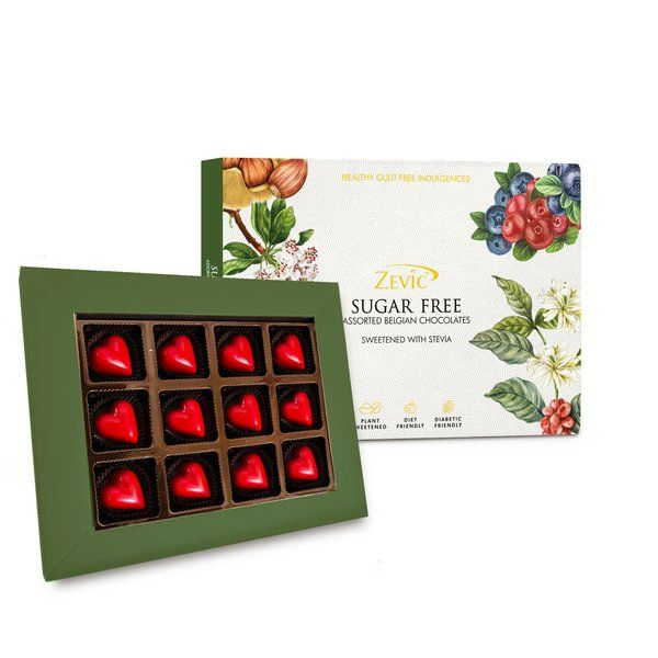 Zevic Healthy Strawberry Hearts Gift Pack - Sugar Free 120 gm 70th Birthday Gift For Dad