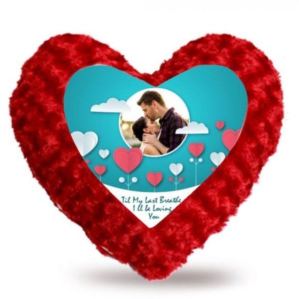 Privy Express Heart Full Of Valentine Love Heart-Shaped Red Fur Pillow Cushion 3 Year Anniversary Gift For Husband