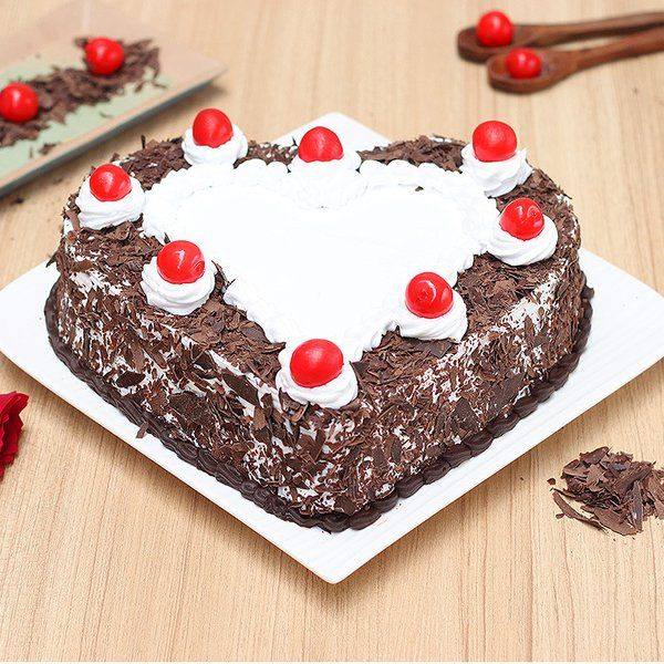 Heart Shape Black Forest Cake For Wife