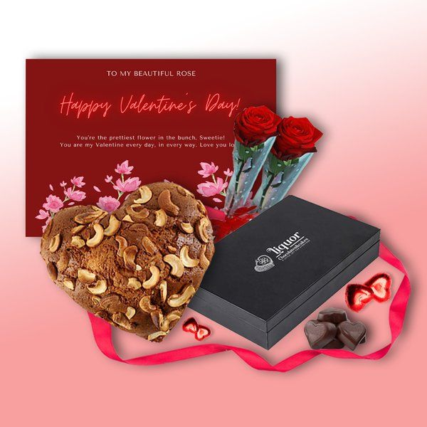 Liquor Chocolates And Cakes Heart Shaped Alcoholic Cake and Box of Heart Shaped Alcoholic Chocolates With Pack of 2 Red Roses and Greeting Card Combo Gifts For Wife