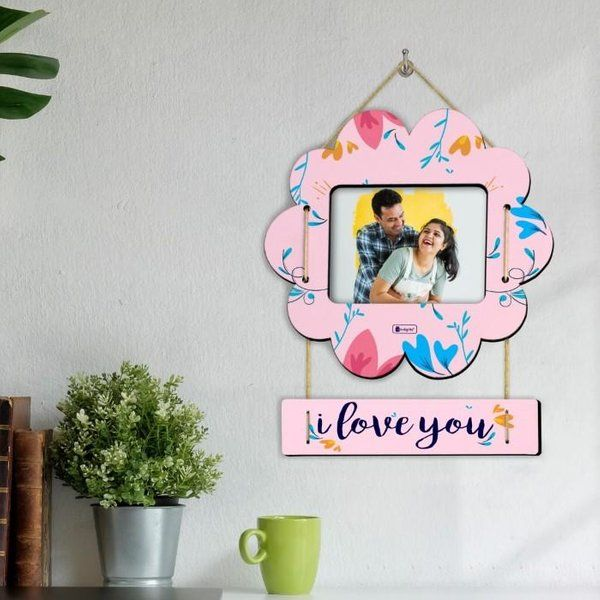 Indigifts I Love You Printed Pink Flower Shape Photo Frame Valentine Special Gifts For Him Romantic Valentines Gifts For Husband