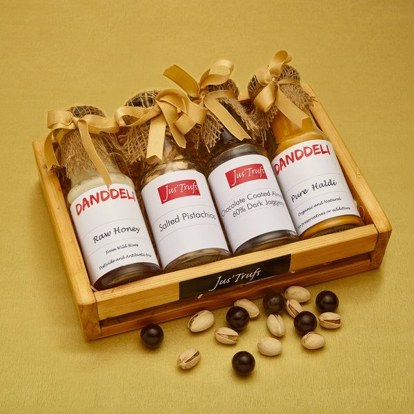 Jus'Trufs Chocolatiers Immunity Builder Dry Fruit and Honey Hamper Simple Gift For Sister