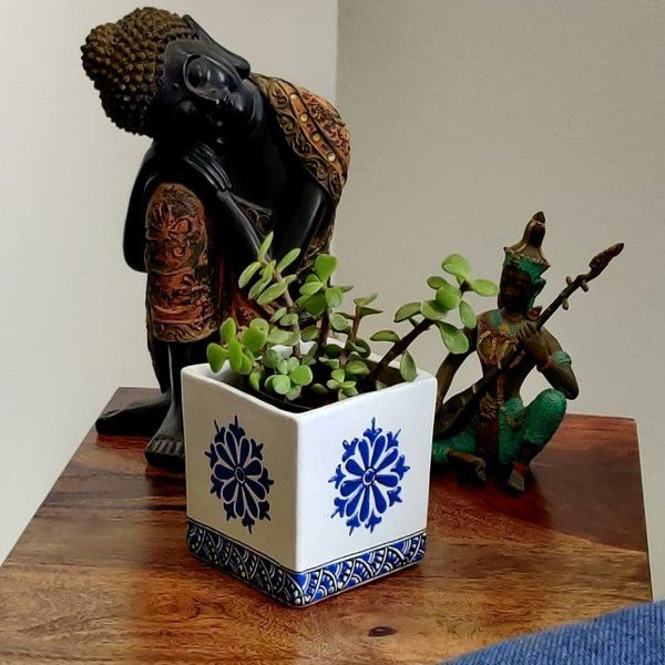 EitherOrr Indigo Flower Planter Useful Gift For Mom