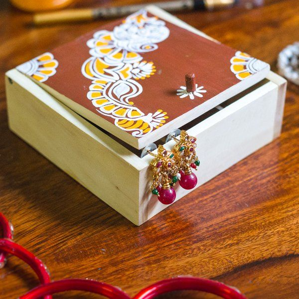 Ivei IVEI Hand Painted Wooden Chowk Art Trinket Box Twin Sister Gifts